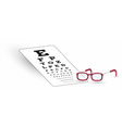 sharp snellen chart and glasses vector image