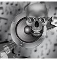 speaker skull and electric guitar vector image