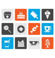 Flat Sweet food and confectionery icons vector image vector image