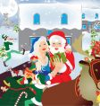 Santa Claus and sledge vector image vector image