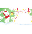 Christmas - cute white rabbit on snow vector image