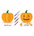 Pumpkin halloween sculpture tools vector image vector image