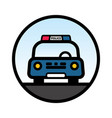 blue police car front view vector image