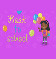 caucasian schoolgirl with the bunch of balloons vector image