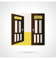 Flat brown open door icon vector image