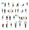 Flat style business people figures icons vector image