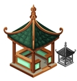 Gazebo in Oriental style with green roof vector image