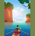 man floating in boat in mountains lake summer vector image
