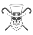Old bearded steampunk gentleman skull with goggles vector image