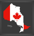 ontario canada map with canadian national flag vector image