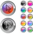 Pixel arrow multicolor round button vector image