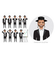 set of emotions for jew business man vector image