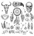 Skull Tattoo Icon Set vector image
