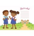 banner back to school boy girl pupil lettering vector image