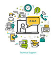 technical support - line round concept vector image