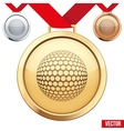 Gold Medal with the symbol of a golf inside vector image vector image