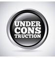 under construction silver button isolated icon vector image