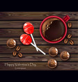 chocolates and lolipop with coffee realistic vector image