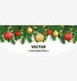 horizontal christmas banner with fir tree garland vector image