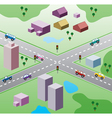 houses and cars on the road vector image