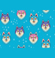 husky or wolf seamless pattern in blue and pink vector image