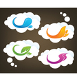 nature elements on white clouds vector image vector image