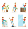 woman making different housework active mother at vector image