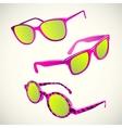 Retro sun glasses summer plastic lens color vector image
