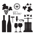 Wine icons collection black vector image