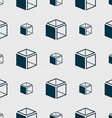 3d cube icon sign Seamless abstract background vector image