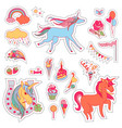 color fun stickers with unicorn cloud cake vector image