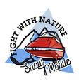 Color vintage snowmobile emblem vector image