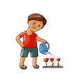 flat boy watering tulip flower isolated vector image