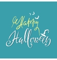 Happy Halloween text lettering with green vector image
