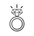 line beauty wedding ring with diamond design vector image