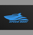 speed boat logo on a dark background vector image