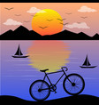 sunset lanscape with bicycle vector image