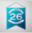 blue pennant with inscription twenty six years vector image