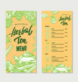 vintage herbal tea restaurant menu template vector image