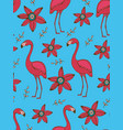flamingo and flowers colorful seamless pattern vector image