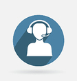 Circle blue icon with shadow customer support vector image