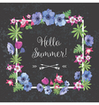 Summer Floral Frame Flower Design for T-shirt vector image