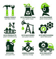 flat icon set for green eco production vector image