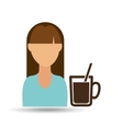 Girl cup coffee fresh hot icon graphic vector image