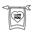 greeting i love you heart arrow ribbon outline vector image