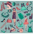 Hand drawn Beauty and Fashion collection vector image