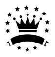 victory - crown with stars and ribbons icon vector image