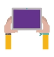 hands holding a touch tablet with bracelet vector image
