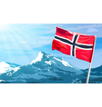 Norway flag on mountains background vector image