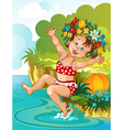Little girl bathe in sunshine Vacation theme vector image vector image